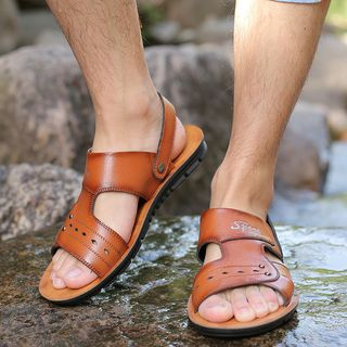 Image of Burnished Genuine Leather Sandals