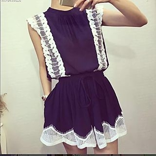 Set: Lace Panel Sleeveless Top + Skirt 1050770691