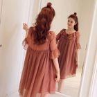 Maternity Plain Elbow Sleeve Chiffon Dress 1596