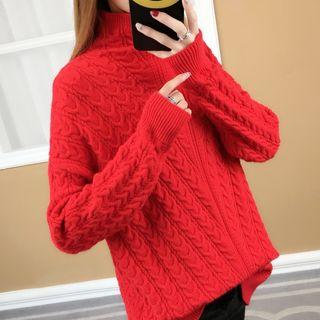 Mock Neck Rib Knit Sweater 1063869638