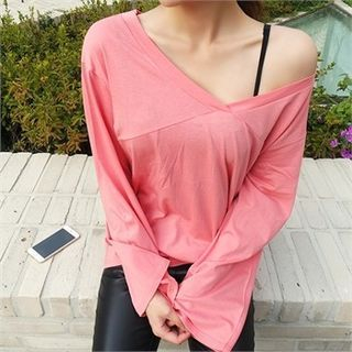 V-Neck Bell-Sleeve T-Shirt 1052757601
