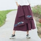 Embroidered Wide Leg Cropped Pants 1596