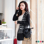 V-Neck Striped Long Cardigan 1596