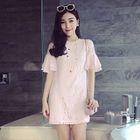 Maternity Short-Sleeve Lace Dress 1596
