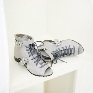 Picture of Youareagirl Open-Toe Lace-Up Sneakers 1022766225 (Sneakers, Youareagirl Shoes, Korea Shoes, Womens Shoes, Womens Sneakers)