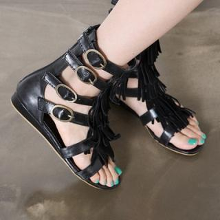 Buy HARU Fringed Accent Sandals 1022581424