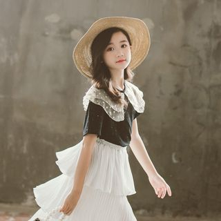 Image of Kids Layered Collar Short-Sleeve T-Shirt / Midi Layered Skirt