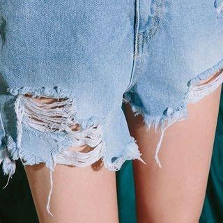 Distressed Washed Denim Shorts 1058619432