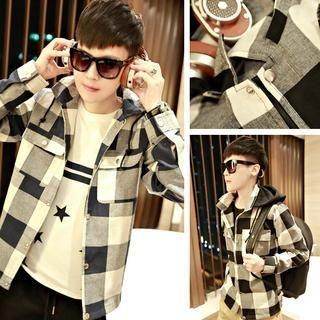 Detachable Hood Plaid Jacket