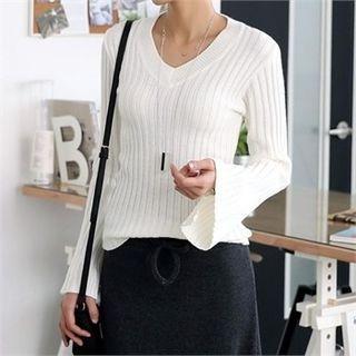V-Neck Slit-Sleeve Knit Top 1057210345