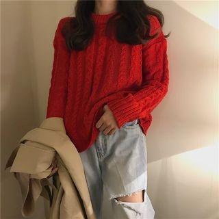 Ribbed Long-Sleeve Knit Top 1064010479