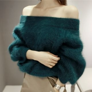 Off-Shoulder Faux-Fur Sweater