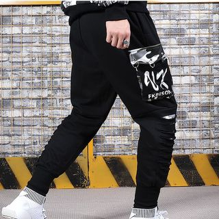 Image of Camo Panel Lettering Cargo Pants