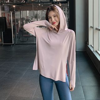 Image of Hooded Long-Sleeve Sports Top