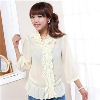 Picture of doremi 3/4 Sleeve Ruffled Shirt 1022498415 (doremi Tees, Womens Tees, China Tees, Causal Tops, 3/4 Sleeve Shirts)