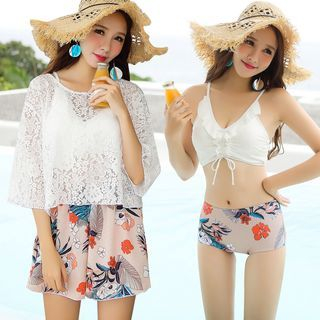 Set: Floral Print Tankini + Lace Cover-Up + Swimshorts 1064560548