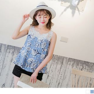 Sleeveless Lace Panel Floral Print Top 1061986185