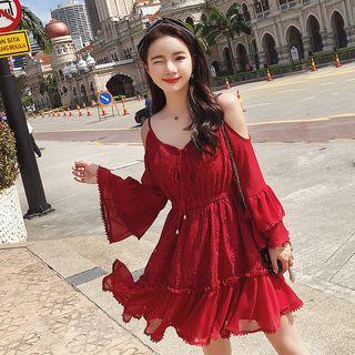 MAVIS Long-Sleeve Cutout-Shoulder Lace Dress