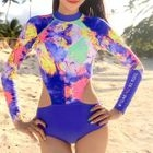 Printed Long-Sleeve Cutout Swimsuit 1596