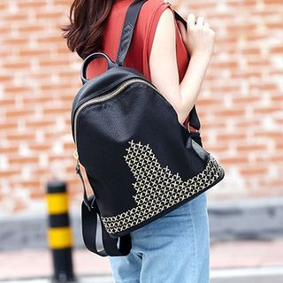 Genuine Leather Studded Backpack