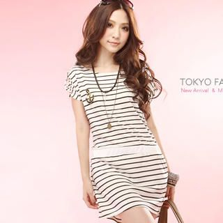 Buy Tokyo Fashion Anchor Pin Striped T-Shirt Dress 1023028360