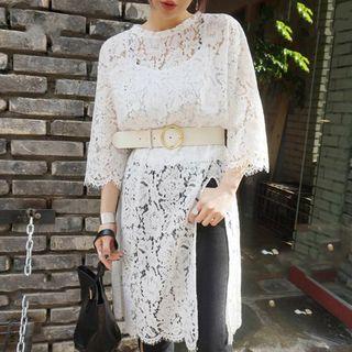 Image of 3/4-Sleeve Slit-Side Lace Dress