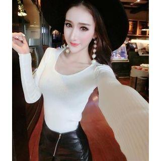 Long-Sleeve Lace-Up Rib Knit Top 1062485813