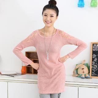 Lace Shoulder Knit Top 1038218264