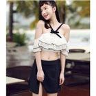 Set: Frilled Bikini Top + Slit Swim Skirt 1596