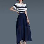 Set: Striped Short-Sleeve Knit Top + A-Line Maxi Skirt 1596