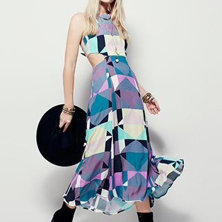 Sleeveless Cut Out Patterned Maxi Dress 1050925222