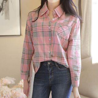 Image For Pocket-Front Plaid Cotton Shirt