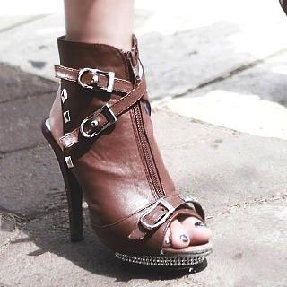Buy Kvoll Rhinestone-Detail Studded Platform Heels 1022653746