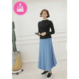 Band-Waist Asymmetric-Hem Long Skirt 1057437811