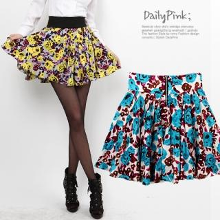 Buy Daily Pink Flower-Print A-Line Skirt with Lining 1022581049