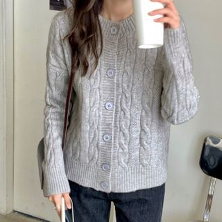 Cable Knit Cardigan Gray - One Size