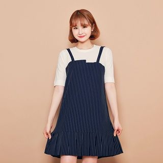 Inset Ribbed Top Striped Dress 1059579746