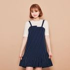 Inset Ribbed Top Striped Dress 1596