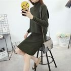 Set: Plain Long-Sleeve Knit Top + Midi Skirt 1596