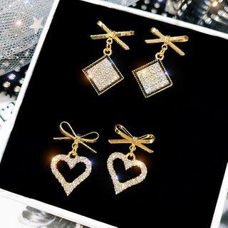 Image of Alloy Bow Rhinestone Square / Heart Dangle Earring