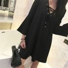 Bell-Sleeve Lace-Up A-Line Dress 1596