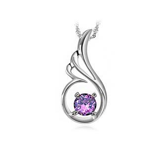 White Gold Plated 925 Sterling Silver Angel Wings Pendant with Purple Cubic Zircon and Necklace