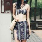 Set: Print Bikini + Crochet Top + Skirt 1596