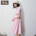 Short-Sleeve Cutout-Back Check Dress 1596