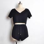 Set: Cropped Short-Sleeve T-Shirt + Shorts 1596