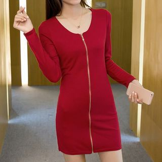 Zip Front Long-Sleeve Bodycon Dress 1053930410
