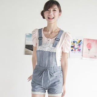 Buy Ringnor Lace-Detail Denim Jumper Shorts 1023037461