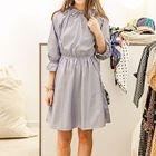 Plain Elbow-Sleeve Dress 1596