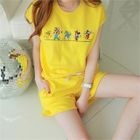 Set: Mickey Mouse Print Top + Sweat Shorts 1596