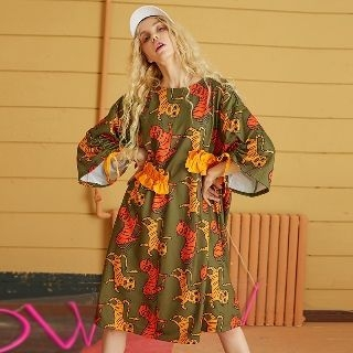 3/4 Sleeve Printed Frill-Trim Dress 1063992257